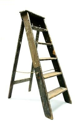Vintage Wood Ladder Step Stool Folding Rustic Antique Decor Pot Rack Barn Quilt