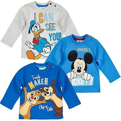 Disney Characters Baby Boys Girls Long Sleeve Cotton Tops 3-PACK 0-24 Months