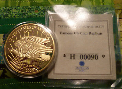 """2003 Gold Plated """"COPY"""" 1933 Walking Liberty Double Eagle Gold $20 Dollar Coin"""