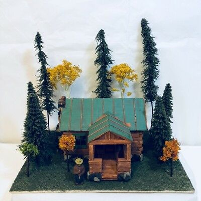 "Smokey Bear with Log Cabin Scene Made of Wood & Stone 11""L x 7""W x 10.5""H"
