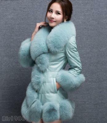 Fashion women's winter faux fox fur collar coat slim fit warm outwear jacket Hot