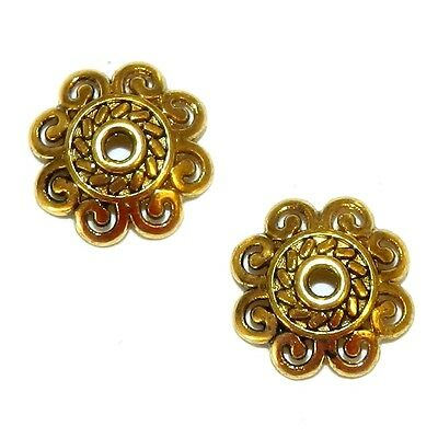 M5195 Antiqued Gold 12mm Open Scalloped Flower Metal Bead Caps 25pc