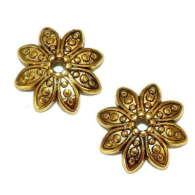 M5199 Antiqued Gold 14mm Round 8-Petal Pointed Flower Metal Bead Caps 25pc