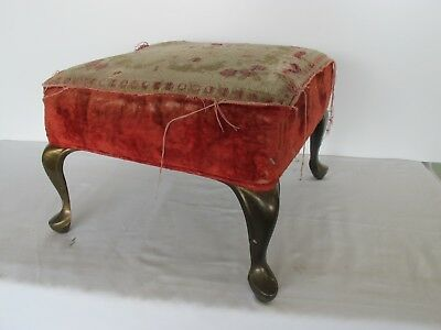 "Antique Foot Stool Brass Feet Worn Velvet Jacquard Top 13"" x 13"" x 10"" tall"
