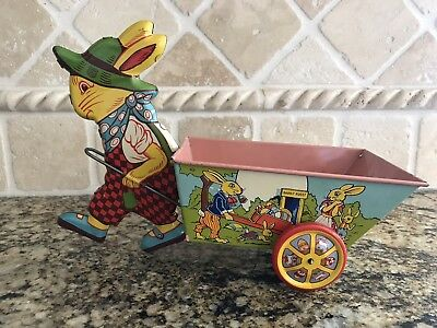Pair of J. Chein Litho Tin Easter Rabbit Pulling Cart
