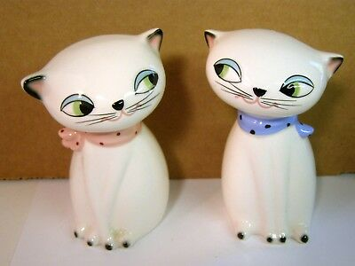 Mid Century Holt Howard Cat Salt and Pepper Shakers With Label-Had Sound Boxes