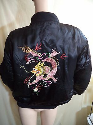 Oriental Chinese Dragon Embroidered Jacket Black Silk & Liner Womens XL NWT
