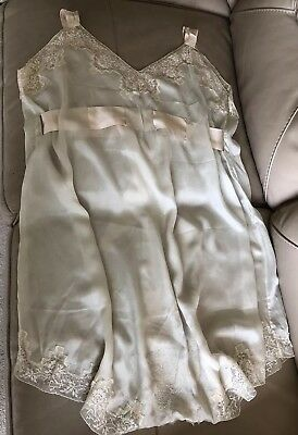 1920s Silk Slip Camiknickers Camisole Cream Pink Ribbon Lace Antique Edwardian