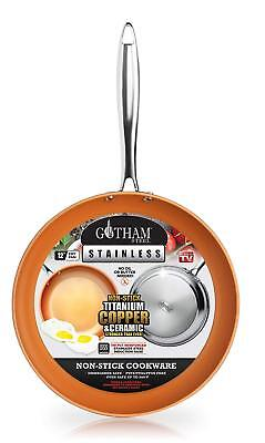 """Gotham Steel Stainless Steel Premium 12"""" Non Stick Frying Pan – As Seen on TV!"""
