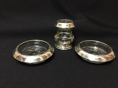 Vintage  Silverplate and Cut Crystal  Ash Trays and Cigarette Holder Set