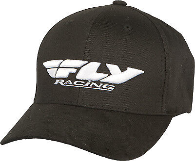Fly Racing Casual Podium Hat Black White Flex Fit Curved Brim Baseball Cap