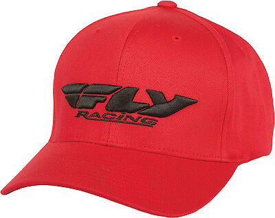 Fly Racing Casual Podium Hat Red Black Flex Fit Curved Brim Baseball Cap