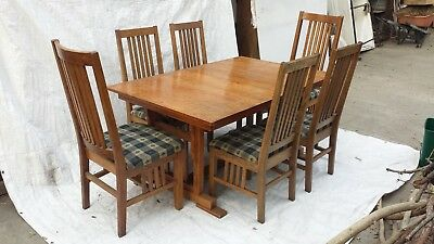 Vintage Solid Oak Arts & Crafts Style Dining Set by Sunny Designs