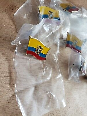 12 ECUADOR NATIONAL COUNTRY WORLD FLAG LAPEL PINs NOS Collectible Hat Work NOS
