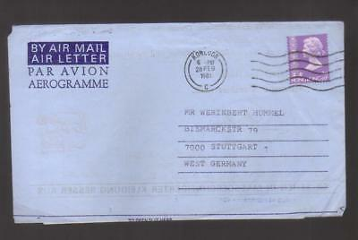 9654- Hong Kong , British Colonies, cover to Germany – Stanley Gibbons 318 – aer