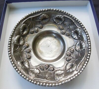 Vintage Hand-wrought Repousse' strawberry/leaf motif 3-footed Greek Bowl, marked