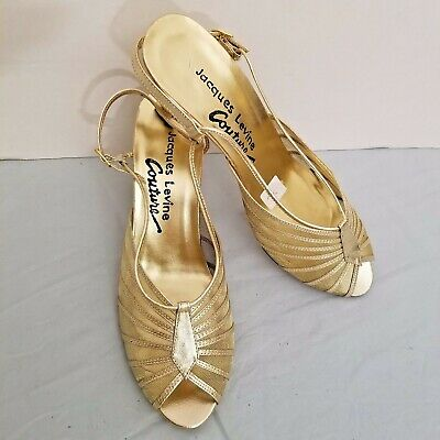 f7819d4a4  125 Jacques Levine WOMEN S Evening Dress-up Gold Sheer Straps Sandals S  8AA NEW
