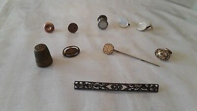 Vintage/Antique Lot Of Single Cufflinks, Pins, And A Thimble