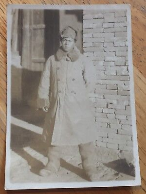WWII Japanese Photo of Japanese Soldier in Winter Coat
