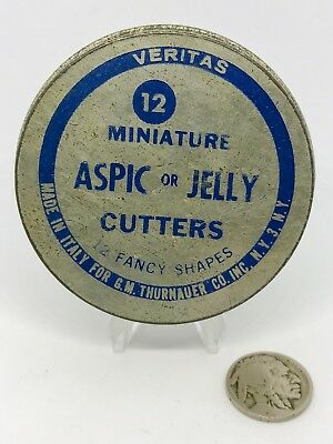 12 Mini Tin Vintage Aspic Jelly Cutters Italy Miniature Metal Fancy Hor D'Oeuvre