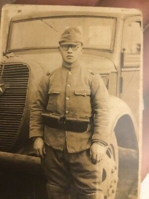 Japanese Photo WWII Soldier In From T Of Truck 3 X2