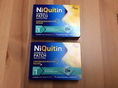 2 X Niquitin Clear 21mg Patch Nicotine Step 1 - 7 Patch