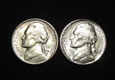 1960 P & 1960 D Bu Jefferson Nickel from OBW Roll Flat Rate Shipping