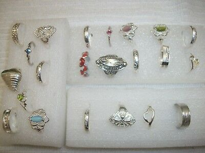 Big LOT of 22 Women's Rings Silver Tone Mixed Costume RING size 7 FREE SHIPPING