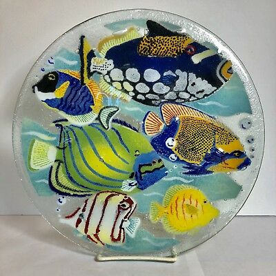 """Peggy Karr Art Glass Tropical Fish Plate Platter Large 11.25"""" Signed Retired"""