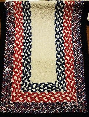 Patriotic Colors Red White Blue Rectangle Braided Jute Table Runner
