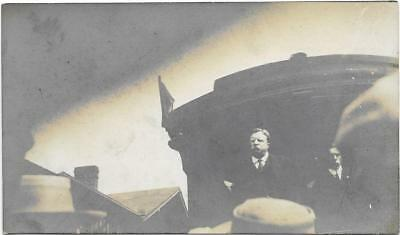 Real Photo Postcard of President Theodore Teddy Roosevelt speaking from a train