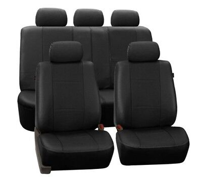 FH Group Black Deluxe Faux Leather Airbag Compatible and Split Bench Car Seat Co