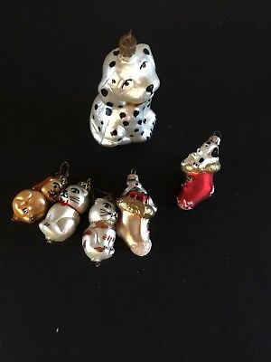 Glass Dalmation Ornaments Two Cats Lot Of Six