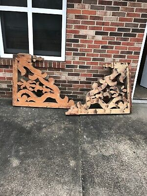 Mar Pair Carved Wood Corbels 42 X 33 X 2.75