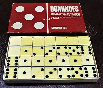 Bakelite Dominoes Original Box Vintage 40's