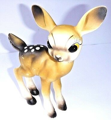 Vtg Mid-century 7 in Soft PLASTIC DEER FAWN BAMBI Movable head squeak toy JAPAN