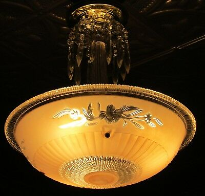 Antique 30's 40's  art deco glass and brass ceiling light chandelier restored