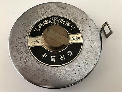 METAL TAPE MEASURE 1.4kg BRASS CONNECTORS 50m VINTAGE? Collectable Tools NO.691