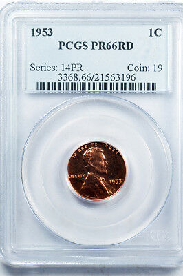 1953 Lincoln wheat cent proof PCGS PR66RD