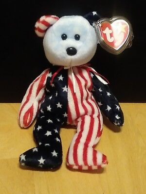 TY Beanie Babies -- Spangle the Bear (Red, White, and Blue Face) - NM Condition