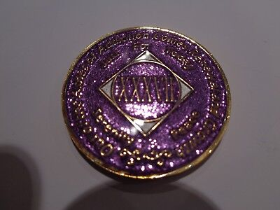 NA Purple Ivory Coin 36 Year Tri-Plate Narcotics Anonymous Medallion Case/&Stand