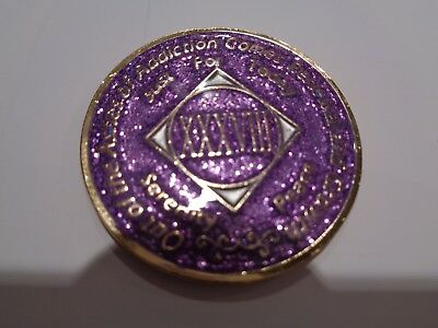 NA Purple Glitter Coin 15 Year Tri-Plate Narcotics Anonymous Medallion CaseStand