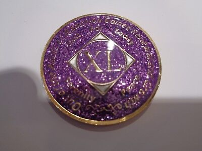 Na Purple Glitter Coin 40 Year Tri Plate Narcotics Anonymous