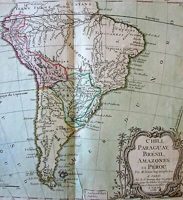 South America continent Brazil Peru Amazon 1766 Brion decorative old map