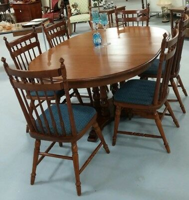 Tell City Hard Rock Maple Dining Table 2 Leaves + 6 Matching Chairs & Hutch