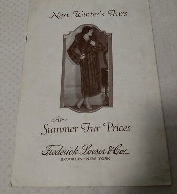 Frederick Loeser & Co. Next Winter Furs Catalog Brooklyn New York 1920's Or 1930