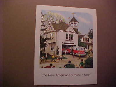 "NORMAN ROCKWELL PRINT ""THE NEW AMERICAN LaFRANCE IS HERE"" FULL COLOR 8 X 10 INCH"