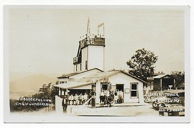 Yonkers Tower Gas Station US40 National Rd Cumberland MD Old Real Photo Postcard
