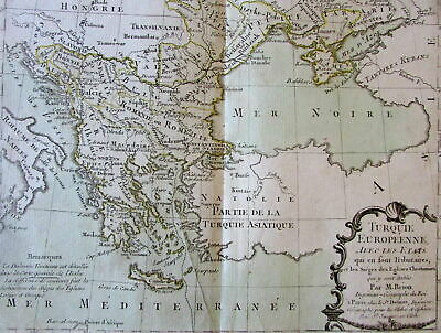 Turkey in Europe Romania Balkans Black Sea Serbia 1766 Brion decorative old map