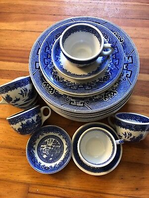 Lot Of 20 SHENANGO Restaurant Ware Heavy 9 Dinner, 2Salad, 6 Cups BLUE WILLOW +